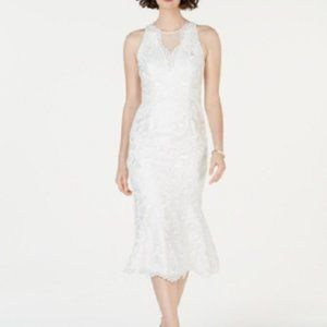 New Adrianna Papell Lace Flounce Hem Dress Ivory
